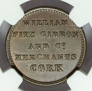 1840s Ireland Cork William Fitzgibbon Trade Token Farthing - NGC MS 63 - W-5740a