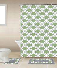 Thea Green & Gray Chain 15-Piece Bathroom Accessory Set Bath Mats Shower Curtain