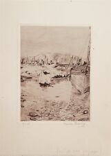 Valdo Louis Barbey gravure originale signée Port de Vigo Espagne Suisse