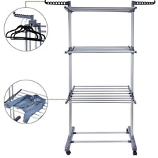Portable 3 Tier Iron Tower Folding Washing Clothes Laundry Drying Rack Stand