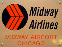 Midway Airlines Airplane Plane Flight Flying Vintage Aviation Metal Sign