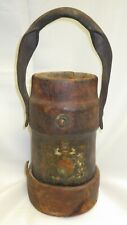 Antique English Leather Fire Bucket / Ammunition Carrier