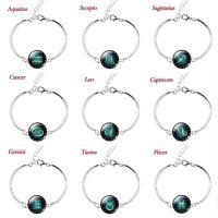 Unisex Silver Plated Zodiac Sign Bracelet Cuff Bangle Pendant 12 Constellation