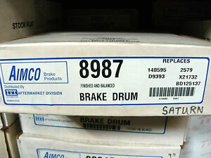 1 NOS Aimco 8987 Brake Drum for 1991 - 02 Saturn SC + SL ~ 1993 - 01 SW Rear