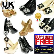 NEW DIAMANTE RHINESTONE CRYSTAL DECORATIVE PEARL GOLD BUCKLE SHOE CLIPS BOW PAIR