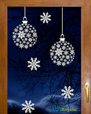 2 FASHION BALLS SNOWFLAKES CHRISTMAS STICKERS HOME WINDOW DECORATIONS REUSABLE +