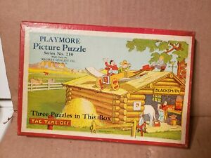 Nice in box Antique 1930's MADMAR  Playmore Picture Jigsaw Puzzle 3 cartoon