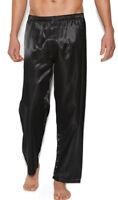 Satin Unisex Lounge Sleep Pajama Pants Charmeuse Men's Women's Black 3015