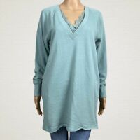 Wishlist V-neck Lace Trim Tunic Sweatshirt Top MEDIUM Light Green Athleisure