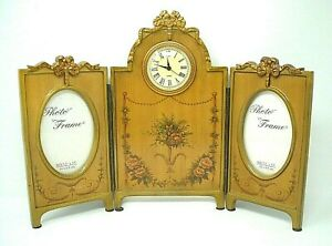 Triptych Photo Frame And Clock