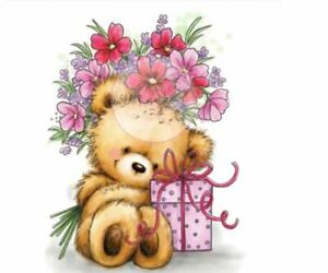 Teddy Bear with a Gift Box & Pretty Flowers Craft Stamp (CS 80)