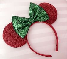 NEW Minnie Mouse Shiny Red Ears Headband Green Sequin Sparkly Bow Christmas