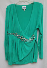 DG2 Diane Gilman Womens XL Rayon/Spandex Green Jeweled Occasion Blouse NWOT