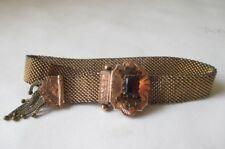Antique Victorian W.E.W & Co Gold Filled Garnet Mesh Slide Tassel Bracelet Adj