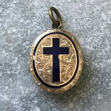 Vintage Gold Back & Front Blue Enamel Cross Locket