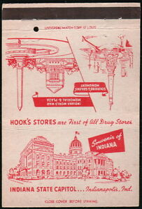 INDIANAPOLIS IN Hook's Drug Store Vtg Royal Flash Billboard Match Book Cover