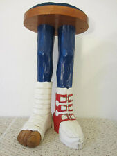 """Hand Carved Wooden 29"""" Injured Skier'S Stool"""