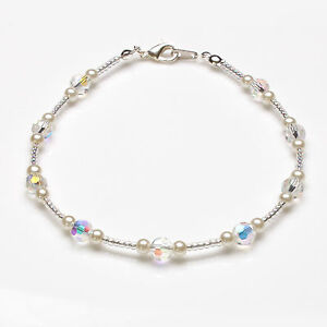 Cream Glass Pearl and Round Swarovski Crystal Anklet
