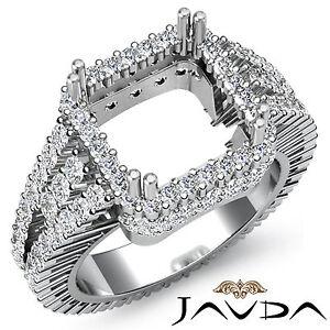 Diamond Engagement Halo Prong Ring Princess Semi Mount VS1-VS2 Platinum 2.5Ct