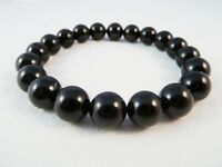 BLACK TOURMALINE BEAD STRETCH BRACELET 10mm Gemstone Protection Energy Healing