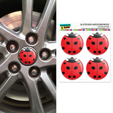 Lady Bug - Insect Ladybug - Wheel Center Cap 3D Domed Stickers Badges - Set of 4