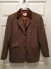 Talbots Petites Women's Three Button Houndstooth Leather Collar Lined Blazer 12