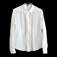Theory White Cotton Long Sleeve Shirt with Embroidery size L