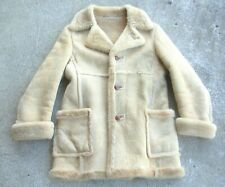 Woolrich Vintage Leather Sherpa lined Wool Coat Malboro size 40 1970's