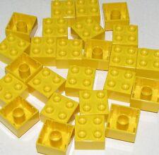 LEGO LOT OF 25 NEW YELLOW 2 X 2 LARGE DOT DUPLO PLATES BRICKS BLOCKS PARTS