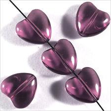 Set di 10 Perline Ceco Cuore in vetro 10mm Ametista