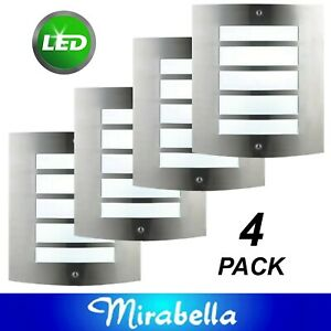 4 x 6W LED Curved Stainless Steel Wall Lights Rectangular Outdoor Exterior