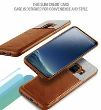 For Samsung Galaxy S9 Case, Hybrid Soft TPU Leather Shockproof Cover Brown