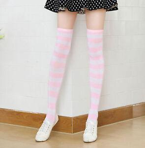 Cute Lolita Girls Stocking Socks Over-knee Stripe Thigh High Dance Socks Cosplay