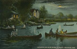 BEATRICE NE - Canoeing On Blue River By Night
