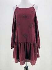 Xhilaration Juniors Burgundy Purple Cold Shoulder Drop Waist Dress Size XL NEW