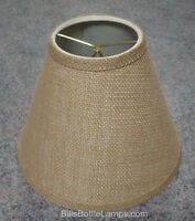 "Rustic ""Bulb Clip"" Style BURLAP LAMP SHADE Table Desk Light  Cottage Cabin Decor"