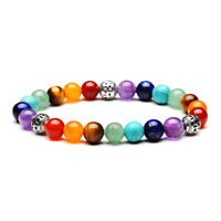 7 Chakra Healing 8mm Spacer Natural Stone Bracelet Jewelry Luck 234