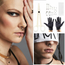 20pcs/set Tongue Nose Belly Button Body Jewelry Piercing Rings Needles Tool Kit