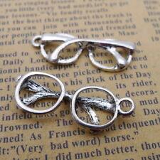 10pcs Tibetan Silver Charms Hollow Eyeglasses Beads Pendant DIY Jewelry 12*32mm