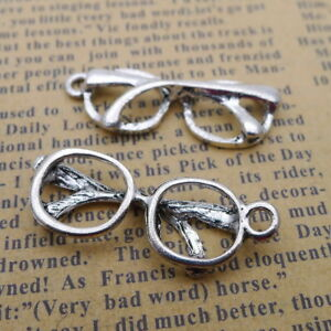 10pcs Tibetan Silver Charms Hollow Eyeglasses Beads Pendant DIY Jewelry 12*32mm