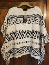 New Look Black Ecru Stone Silver Natural Aztec Fringed Poncho Size M/L 14/16 NWT