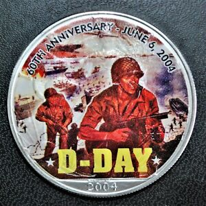 2004 U.S. 1 oz. Silver Eagle with D-Day Commemorative Decal