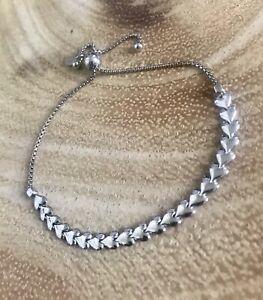 925 Sterling Silver Heart Link Adjustable Slider Bracelet