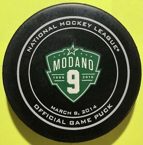 Mike Modano #9 Jersey Retirement Night Official Game Puck March 08, 2014.