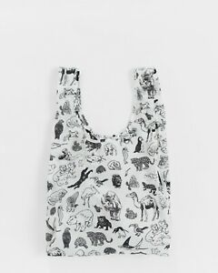 BAGGU Standard Reusable Bag Shopping: 2 bags- Zoo & Elephant Blue - NEW