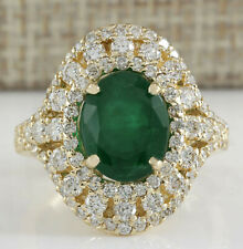 5.07 Carat Natural Emerald 14K Yellow Gold Diamond Ring