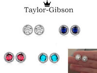 925 Sterling Silver Large Round Earrings Stud Clear Blue Red Aqua Cubic Zirconia