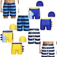 Boys Dinosaur PatternStripe Swim Trunk Summer Beach Quick Dry Surfing Swimwear