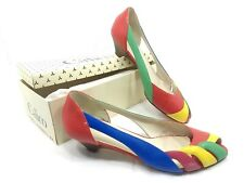 Vintage Calico Primary Color Women's Peeptoe Low Heels; Leather Shoes sz 8.5