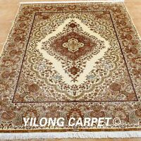Yilong 6'x8.5' classic Silk Rug Hand Knitted Oriental Carpet Living Room 0252